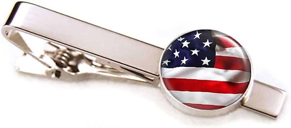 US Flag Cufflinks, United Stated Flag Tie Clip, Patriotic Jewelry, July Fourth Cuff Links, July 4 4th Cufflinks