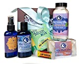 New Mom Gift Box with All-Natural Bath & Body Care by Blue Moon Elise. Baby-Safe, Relaxing & Healing. Handmade Soap, Bath Salts, Body Oil, Mist, Lip Balm with Lavender Essential Oils
