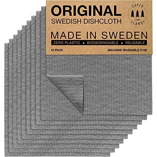Superscandi Schweden-Geschirrtücher, (10 Stück Grau) Umweltfreundlich, Wiederverwendbar, Nachhal