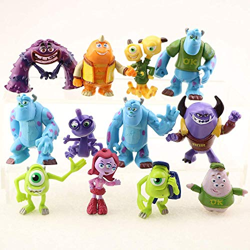 12 Monsters Uni Party Cake Topper Favors Goody Bag Fillers - Set of 12 Figures with Mike Wazowski, Sulley, Art, Two Headed Terri and Terry and More