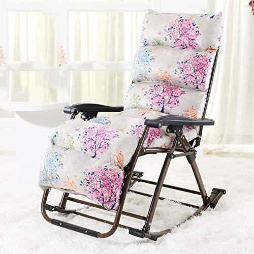 Chaise Longue à Bascule Zhazhen - Cadre en Acier Pliable - Tissu textilène - Idéal pour l'intérieur et l'extérieur - pour la Cour en extérieur