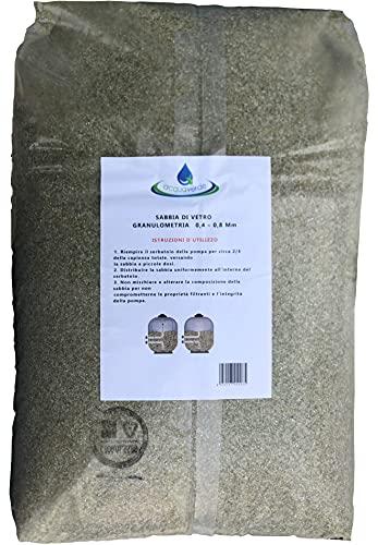 acquaverde Sabbia di Vetro Filtrante 25 kg Granulometria 0,4-0,8 Vetro Attivo Compatibile per Pompe Filtro Intex Bestway