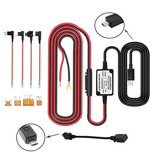 ACS 11.6V Real Drain Protection Gebildet Dash Cam Hardwire Kit ATO//ATC 12V-24V to 5V Car Dash Camera Power Cord //ACN Mini//ACZ Micro2 Fuse Mini//Micro USB Hard Wire Kit for Dashcam