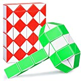Ganowo 48 Wedges Fidget Snake Cube Magic Twist Puzzle Sensory Toys Brain Teaser Games Collections Birthday Gifts Party Favors Stocking Stuffers for Kids Adults Teens (Pack of 2)