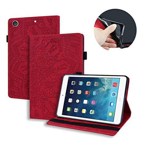 YANCAI Couverture de Cas for iPad 10,2 Pouces 2019 Veau modèle Double repliements embossé étui en Cuir avec Support et Carte Machines à sous et Stylo Fente et Bande élastique (Noir) (Color : Red)