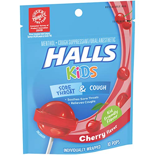 HALLS KIDS Cherry Cough and Sore Throat Pops, 10 Pops