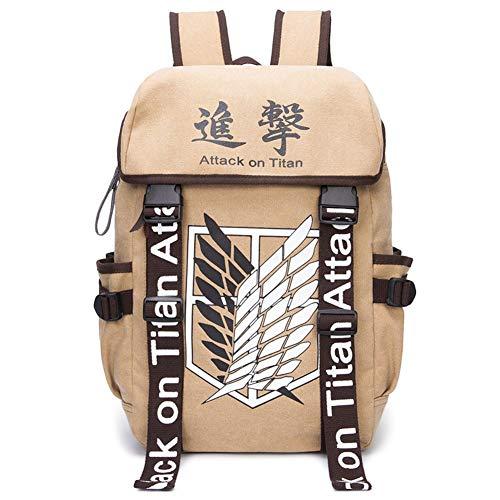 Saicowordist Attack on Titan Backpac Mochila de gran capacidad para el ocio, viajes, poliéster, con impresión de logotipo de anime para ordenador, regalo para niños y niñas estudiantes
