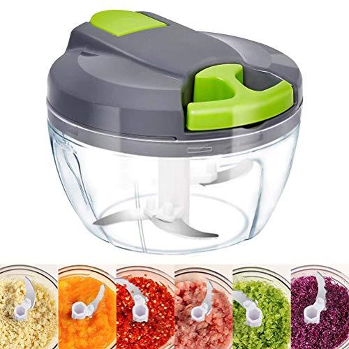Ahagut Multischneider Gemüseschneider Würfler mit Deckel Zerkleinerer Manuell Universalschneider Küche Zwiebel Cutter