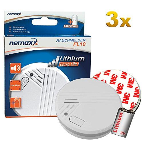 FL10 rookmelder – hoogwaardige rookmelder inclusief lithium batterij van 10 jaar conform EN 14604 met gevoelige foto-elektrische technologie FL10 3er-Paket