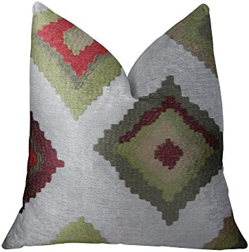 Amazon Com Plutus Brands Plutus Earth Native Trail Handmade Throw Pillow 20 X 36 King White Green Red Home Kitchen