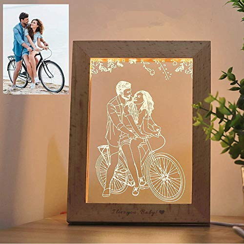 Wood Photo Frame 3D LED Photo & Text Custom Table lamp USB Photo Frame Night Light 3 Colors Customized Gift Personalized Lamp Decoration Christmas Wedding Anniversary Birthday Gifts