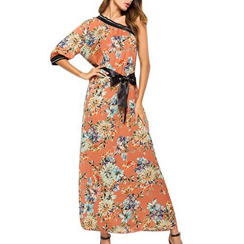 FRAUIT elegante zomerjurk, lange bloemenprint, cocktailjurk, maxi-jurk, één schouder, bohemia, bloemen, strand, jurken, avondjurk, knielang, zonder rug, rockabilly-jurk