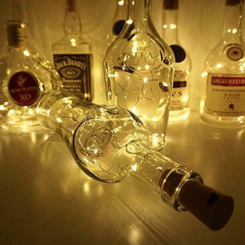 Weinflasche Lichter mit Kork, 6 Pack 20 LEDs Flasche Schnur-Licht / 6.5ft (2M) Silber Kupferdraht Batteriebetriebene Wohnkultur Seil Lampe für DIY Geburtstag Hochzeit - Warmweiß