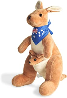 BOHS Stuffed Kangaroo with Australia Scarf and Joey - Huggable Soft Animals Toy- 11.8 Inches