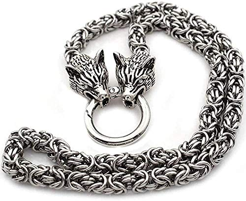 Wolf Head Necklace Steel Wolf Norse Jewelry Necklaces Chain Diameter 7mm