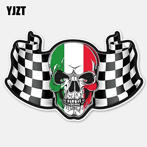 RSZHHL 15,5 cm * 9,8 cm kreative Flagge Italien Schädel Kopf Motorrad Helm Auto Aufkleber Aufkleber 6-2781