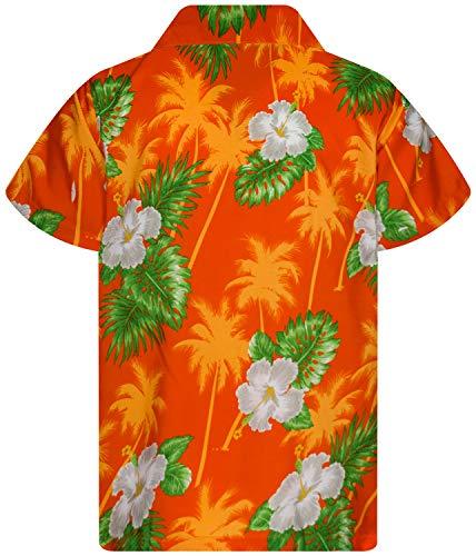 King Kameha Funky Hawaiian Shirt Kids Boys, Shortsleeve, Print Small Flower, Orange, 10