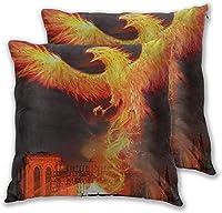 枕クッションカバー、フェニックス火の鳥の背景、2つの柔らかい装飾的な正方形のスロー枕カバーのパックソファソファチェア45cm x45cmのクッション枕カバー