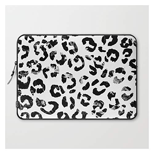 Laptop Sleeve - Laptop Sleeve - 15' - Modern Black White Marble Stylish Leopard Pattern by Girly Tr