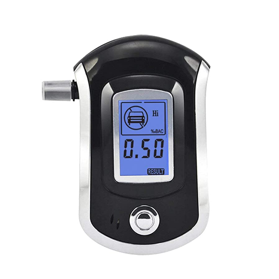 気分が悪い蘇生する札入れAT-6000飲酒検知器アルコール検知器デジタルLCDスクリーンバッテリーハンドヘルドプロフェッショナルBACトラッカー5個付き (Panda)