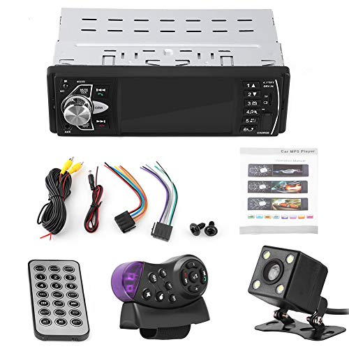 Lettore video per auto, Vivavoce Bluetooth HD da 4,1 pollici Lettore MP5 per auto Riproduzione video Radio FM Scheda di memoria AUX Telecomando USB Stereo singolo Din con Bluetooth((With Camera))