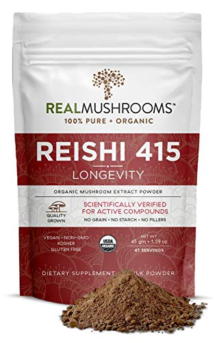Real Mushroom Reishi Mushroom Powder for Longevity (45 Servings) Vegan, Organic, Non-GMO Reishi Extract, Reishi Mushroom Supplement for Relaxation, Better Sleep, Overall Wellness, Safe for Pets