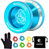 MAGICYOYO Tiny Yoyo N8 Professional Unresponsive Yoyo Alloy Aluminum Yo Yo + 6 Strings + Glove+Yoyo Bag Gift (Blue)