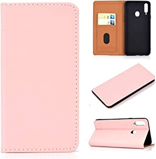 For Galaxy A20s Solid Color Magnetic Horizontal Flip Leather Case with Card Slot & Holder New (Black) Lipangp (Color : Pink)