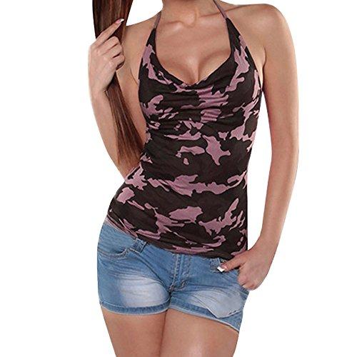 Camiseta para Mujer de Transwen, Estampado de Camuflaje, Informal, sin Mangas, Sexy, Cuello en V Rosa. S