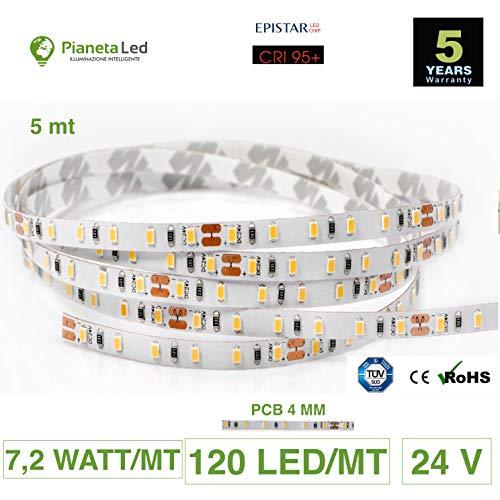 Rouleau de 5 mètres de ruban 600 LED 2216 SMD lumière monochrome au choix 5 m 24 V DC PCB étroit 4 mm avec adhésif double face IRC 95 + mod. Premium 2700 K Luce Calda (Warm White)
