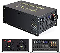 Reliable 5000W Continuous Power Heavy Duty Pure Sine Wave Power Inverter DC 12V to AC 110V 120V with Dual AC Outlets 41Amps Hardwire Terminal and LED Display for RV Car Solar System Emergency