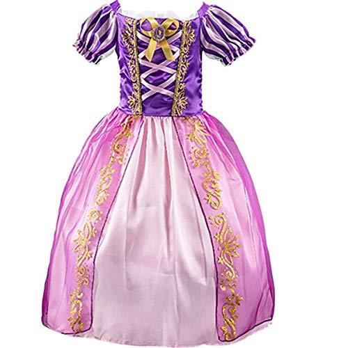 IwFREE - Disfraz de princesa para niña, diseño de raipunzel de cuento de hada degradado, vestido de carnaval, Halloween, Navidad, fiesta, cumpleaños, ceremonia o comunión, color morado