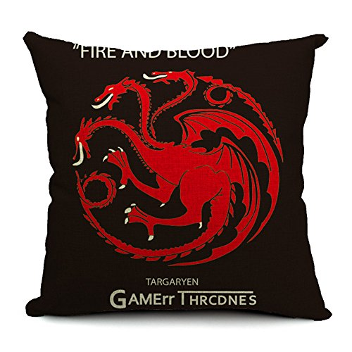 Poens Dream Funda de Coj'n, Game of Thrones Dragon Cotton Linen Decorative Throw Pillow Case Cushion Cover, 17.7 x 17.7inches