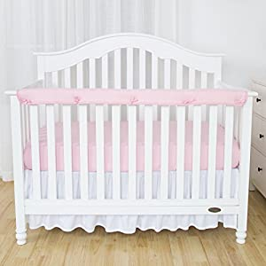 TILLYOU 1-Pack Padded Baby Crib Rail Cover Protector Safe Teething Guard Wrap for Long Front Crib Rails(Measuring Up to 8″ Around), 100% Silky Soft Microfiber Polyester, Reversible, White/Lt Pink
