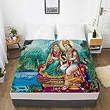 huobeibei Protector de colchón 3D li impresión Digital 135x200x30cm Lord 008-White-F