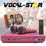Vocal-Star VS-400 Pink HDMI Multi Format Karaoke Machine, 2 Microphone Inputs, Including 150
