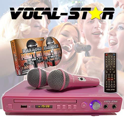 Vocal-Star VS-400 Pink HDMI Multi Format Karaoke-Maschine, 2 Mikrofoneingänge, inkl. 150 Songs und 2 Mikrofonen