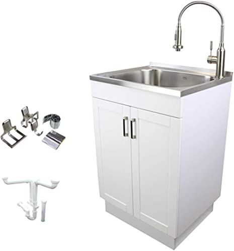 Transolid TCM-2420-WC 24-in. All-in-One Laundry/Utility Kit with Magnetic Sink Accessories, White/Stainless Steel