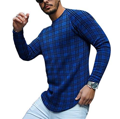 keephen Tops Estampados a Cuadros para Hombre Camiseta Informal con Estampado de Jersey Camiseta a Rayas para Hombre Tops a Cuadros