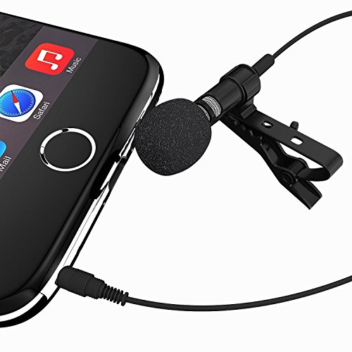 Ska Direct Deluxe Lavalier Lapel Microphone Clip-on Omnidirectional Condenser Mic for Apple iPhone, iPad, iPod Touch, Samsung Android and Windows Smartphones Film Interviews Voval Video Recording