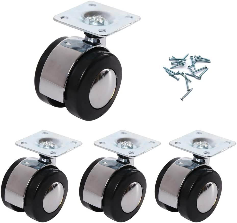 Geovne Furniture Casters,Office Chair Wheels 1.5//2 Caster Wheels with Screws Brake + No Brake