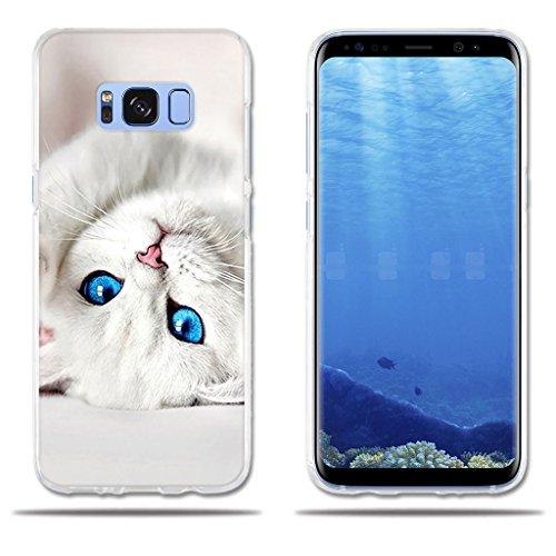 fubaoda Funda Samsung Galaxy S8 5.8' Dibujo de Lindo Gatito Blanco,Amortigua los Golpes, Funda Protectora Anti-Golpes para Samsung Galaxy S8