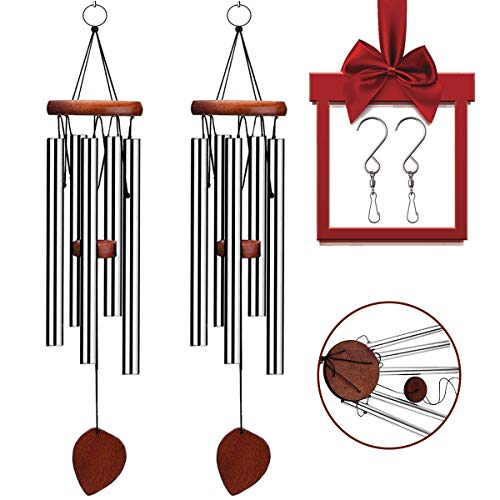 VenKoda 2 Pack Amazing Grace Wind Chimes Bell Outdoor Personalized Mother Memorial Birthday Gifts for Sympathy Porch Patio Home and Metal Garden Decoration Large for Friend and Family - 24 Inch