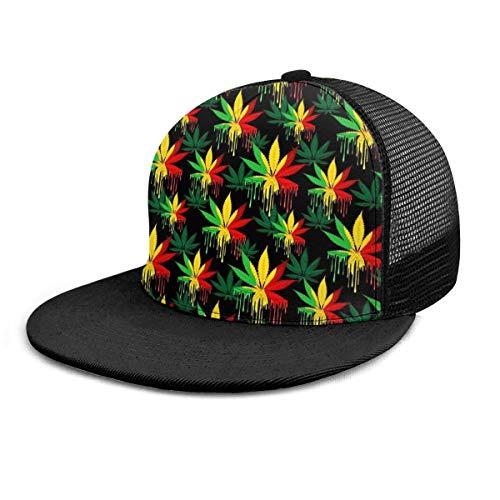 ZCHW Gorra de béisbol Reggae Rasta Hoja de Marihuana Weed 3D Impreso Malla Ajustable Sombrero de Camionero Plaid Gorras de béisbol Planas