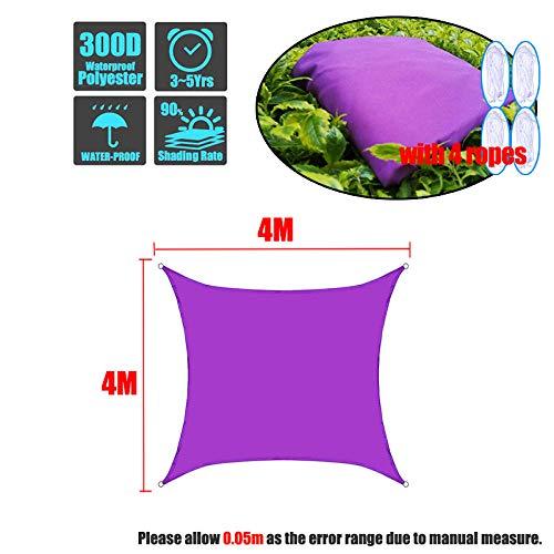 SFYUAN Lila 300D Sonnenschirm Segel Quadrat Rechteck Home Outdoor Garten Wasserdichter Baldachin Patio Pflanzenschutz UV Block Markise Dekoration-4x4m
