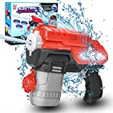 Electric Water Gun, Battery Operated Squirt Guns with Cool LED Lights, 300CC Long Range Water Blaster for Kids Adults Swimming Pool Beach Party Water Fighting (Black)