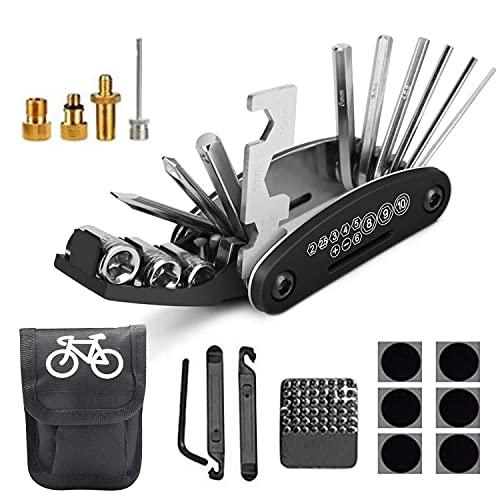 KJEUS Kit de Herramientas para Bicicleta, 16 en 1 Multiherramienta Bicicleta, Herramienta de Reparación Multifunción para Bicicleta con Bolsa, Parches y Palancas para Neumático