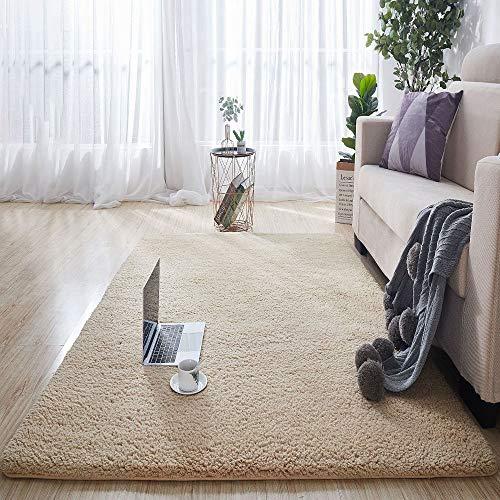 YFAH Alfombra Moderna de Pelo Corto Pelo Corto Estilo Industrial En Marrón para Comedor Dormitorio Pasillo y Habitación Juvenil 100X200,Camel