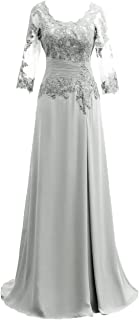 Mother of The Bride Dress with Long Sleeves Chiffon Mother Dress Lace Formal Evening Gown for Wedding