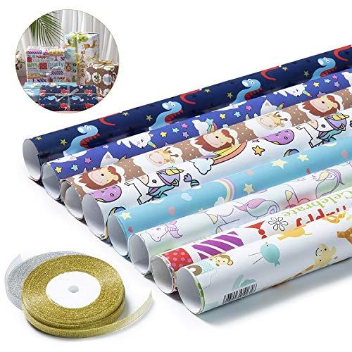 Comius Sharp 8 Fogli di Carta da Regalo, Modello con Simpatici Animali dei Cartoni Animati, con Oro e Argento Nastro, per Compleanno, Anniversari, Matrimoni e Natale (75 X 52 cm)